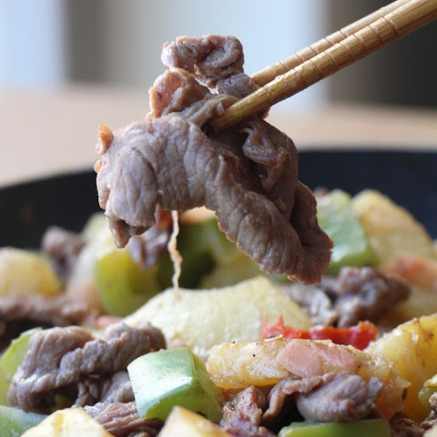 Stir-fry Beef with Pineapples & Pickled Ginger 紫蘿牛肉 (Paleo, GF, Oil Free)
