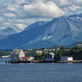 Morning on the harbor by Cathleen Steele - City,  Street & Park  Vistas ( sky, mountain, blue, harbor, clouds, village, quier, serene )