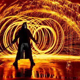 Avenger by Brenda Hooper - Abstract Fire & Fireworks ( orange, steel wool, fireworks, avenger, light, fire, black,  )