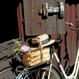 Ready for a ride by Kjeld Olsen - Transportation Bicycles ( summer, luggage rack, transportation, flowers, hat, bicycle )