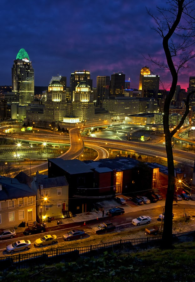 Scene from Mt. Adams by Teresa Jack - City,  Street & Park  Skylines ( ohio, sunset, cincinnati, landscape, mt. adams )