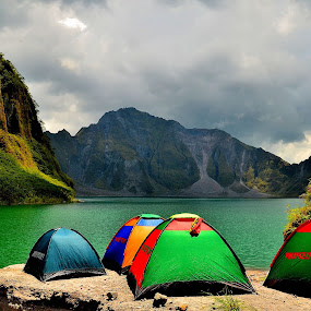 Lake Camp by Wilbert Quebral - Landscapes Travel ( water, tents, turquoise, colored )