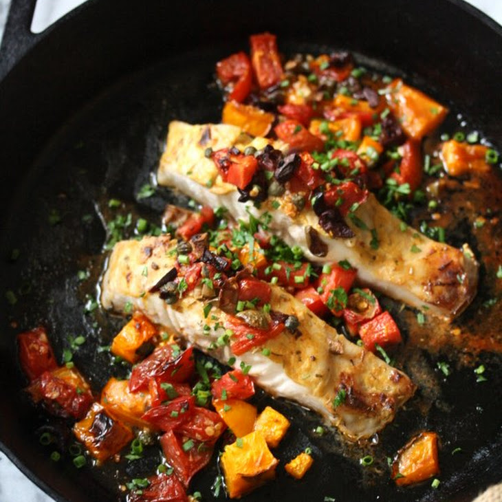 Healthy Broiled Striped Bass with Provencal Tomatoes and Olives