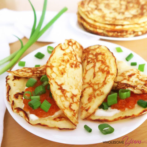 Buttermilk Blinchiki Crepes with Red Caviar (Low Carb, Gluten-free)