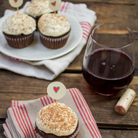 Red Wine Chocolate Cupcakes with Cream Cheese Frosting