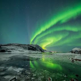 Aurora Borealis by Jens Andre Mehammer Birkeland - Landscapes Mountains & Hills ( mountains, reflection, mountain, blue, stars, green, ice, northern lights, aurora borealis, star, reflections, sea,  )