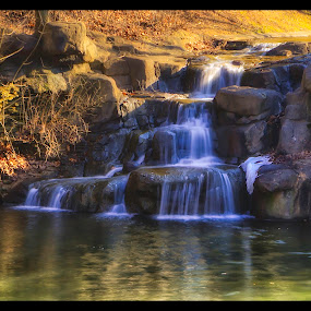 Winter Water Falls by Michael Mounts - Landscapes Waterscapes