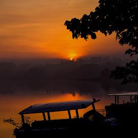 In the beauty of Sunrise by Arvind Akki - Landscapes Travel ( morning glory, sunrise, light, tree, boats, landscape, colors )