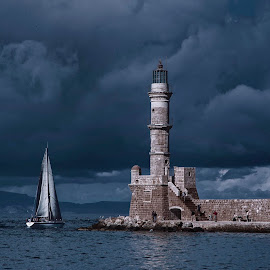 lighthouse  by Panos Andreou - Buildings & Architecture Statues & Monuments ( sailing, greek, panos andreou, lighhouse, greece, chania, crete )