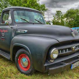 Black Up'n Pick by Marco Bertamé - Transportation Automobiles ( car, red, pickup, vintage, american, f100, us, oldtimer, ford, black )