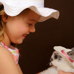 Bunny Friend! by Sonia Stewart - Babies & Children Child Portraits ( child, animals, bunny, matching hats, portrait )