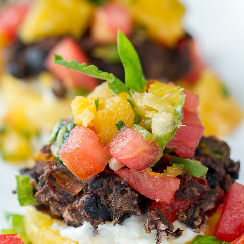 Polenta Black Bean Cakes with Orange Basil Salsa