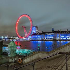 London Eye by Zisimos Zizos - Buildings & Architecture Bridges & Suspended Structures ( london eye, night photography, london, long exposure, bridge, nightscape )