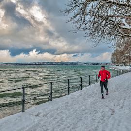 Run! by Jesus Giraldo - City,  Street & Park  City Parks ( clouds, winter, red, cold, park, green, lake, fun, storm, run, man )