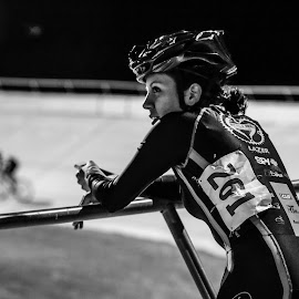 Ready to race  by Steve Cohen - Sports & Fitness Cycling ( lady cyclist, fixed gear, velodrome, encino velodrome, b.w. female pic,  )
