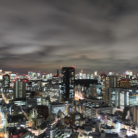 Tokyo at Night by Talbot Brooks - City,  Street & Park  Skylines ( clouds, skyline, skyscrapers, tokyo, night, city at night, street at night, park at night, nightlife, night life, nighttime in the city )