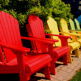 Chairs In A Row by Becky McGuire - Artistic Objects Furniture ( chair, minnesota, vacation, red, tvlgoddess, becky mcguire, relax, yellow green, adirondack, summer, fun,  )
