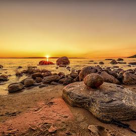 Awenda beach sunset by Vanko Dimitrov - Landscapes Sunsets & Sunrises ( sand, sunset, lake, yellow, stones, rocks )