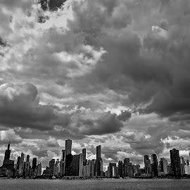 Cloudy Chicago by Fraya Replinger - City,  Street & Park  Skylines ( clouds, chicago skyline, black and white, cityscape, chicago,  )