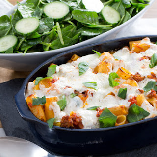 Baked Sausage, Mozzarella & Rigatoni Pasta with Spinach & Cucumber Salad