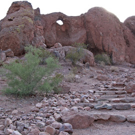 Way up there!   by Deb Bulger - Landscapes Caves & Formations ( natural formation, papago park, rock staircase, rock formations, hole in rock, landscape )