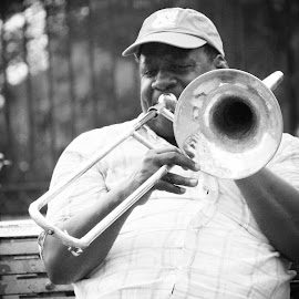 Trombone Player by Marnie Taylor - People Musicians & Entertainers ( new orleans, big easy, jackson square, trombone )