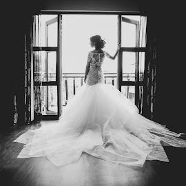 Window by Lodewyk W Goosen (LWG Photo) - Wedding Bride ( wedding photography, wedding photographers, window, black and white, preperation, weddings, wedding day, brides, wedding dress, wedding photos, getting ready, wedding photographer, bride, weddng )