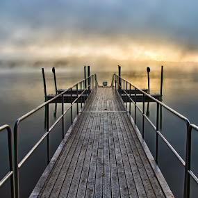 Into the Mist by Brian Young - Landscapes Waterscapes ( water, waterscape, fog, lake, sunrise, bridge, landscape, morning, dock )
