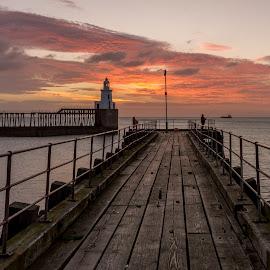 Blyth pier by Phil Reay - Buildings & Architecture Bridges & Suspended Structures ( pier, beach, sunrise, blyth )