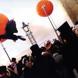 Extras and bird by Mike Thornberry - People Street & Candids ( bird, costumes, filming, flying bird, top hats, people, extras )