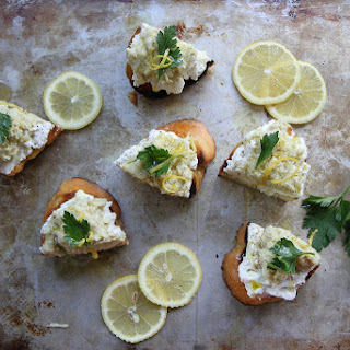 Artichoke Pesto and Lemon Ricotta Crostini