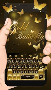 App Gold Butterfly Shining Keyboard Theme APK for Windows Phone
