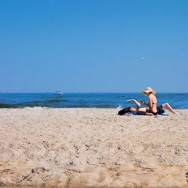 Reading Room by David Stone - People Couples ( water, sand, blue sky, couple, beach, crane beach, atlantic, sea shore, relax, tranquil, relaxing, tranquility )