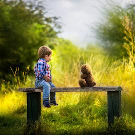 Bench... by Piotr Owczarzak - Babies & Children Children Candids ( teddy bear, park, bench, children, summer, cute, boy, sun )