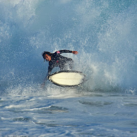 Surfer at the Wedge by Jeannine Jones - Sports & Fitness Surfing