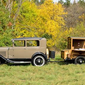 Business on Wheels by Robert Coffey - Transportation Automobiles ( car, trailer, sedan, vintage, trees, ford )