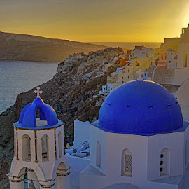 3bells of oia by May May - Buildings & Architecture Public & Historical ( orange, sky, church, blue, sunset, greece, dome, ocean, oia )