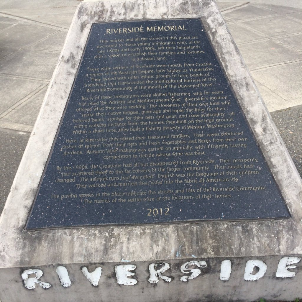 RIVERSIDE MEMORIAL This marker and all the stones in this plaza are dedicated to those young immigrants who, in the late 1800s and early1900s, left their homelands with a vision to establish their ...