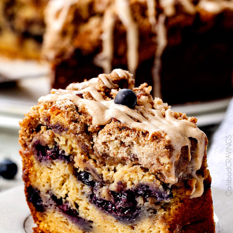 Blueberry Muffin Cake with Maple Cream Cheese Glaze