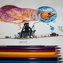 Dream by Soureen Manna - Drawing All Drawing ( dreaming, cat, dream, wishes, wish, colorful, waiting, art, drawing, fishing, painting, boy, pencils )