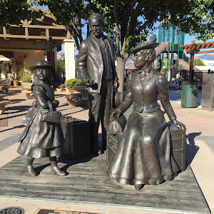 WAITING FOR THE TRAIN BY MARLENE AMERIAN   UNVEILED AS PART OF CENTENNIAL CELEBRATIONS APRIL 29, 2007   THIS BRONZE SCULPTURE DEPICTS ONE OF MORGAN MILL'S EARLY FOUNDING FAMILIES, HIRAM MORGAN HILL, ...