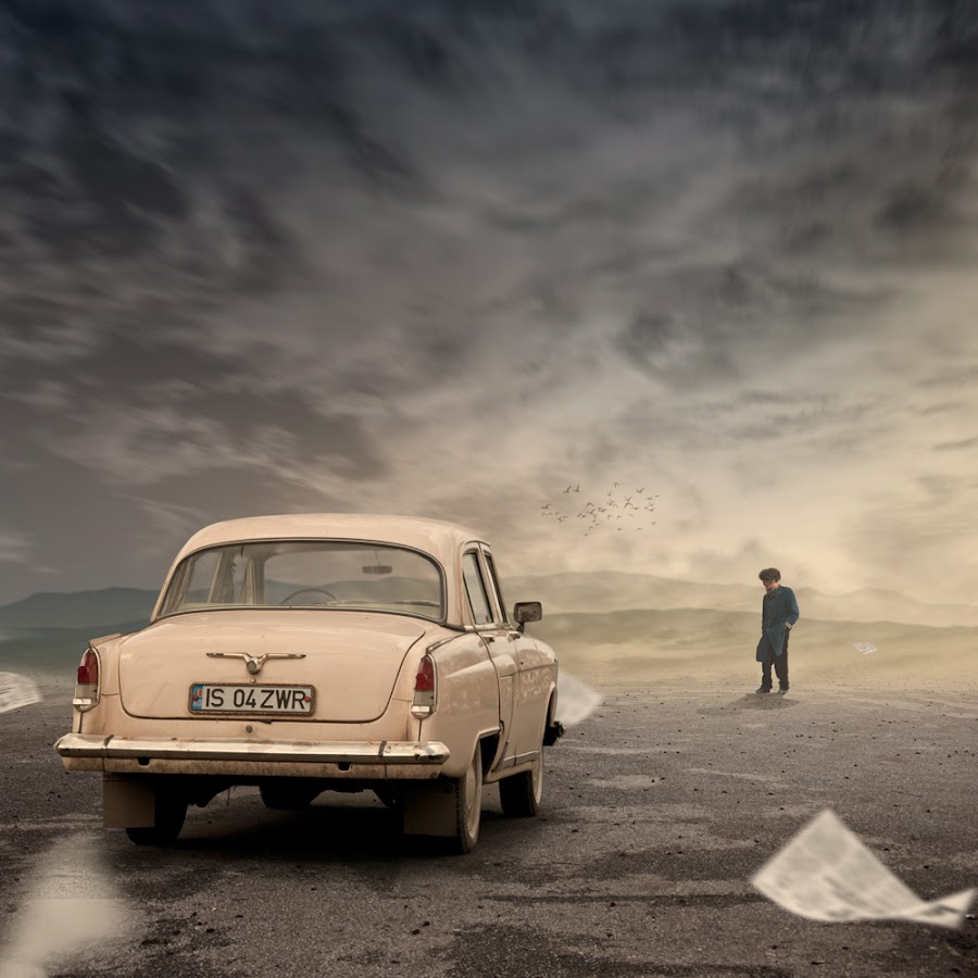 After the storm by Caras Ionut - Digital Art Places ( car, clouds, old, fly, silence, storm, toned, alone, man, newspaper )