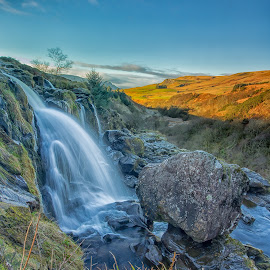 Loup Of Fintry by Diane Maxwell - Landscapes Waterscapes ( scotland, hills, loup of fintry, waterfall, rock formation )