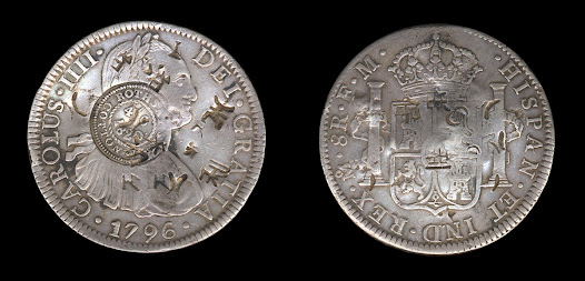 The growth of the Spanish empire from the 1500s saw the creation of the world's first global currency and truly international trading networks. This Spanish 8 reales coin, minted in Mexico, has stamps – known as countermarks – approving it for use on the Isle of Bute in Scotland and then latterly in China.