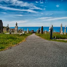 The last view by Tommy  Cochrane - Landscapes Prairies, Meadows & Fields ( graves, sea, gravestones, view, graveyard )