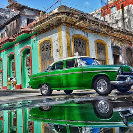 Under a worn green car by Itzik Einhorn - Transportation Automobiles ( car, reflection, motion, havana, cuba )