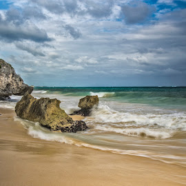 Crashing Moments by Shauna M. Jackson - Landscapes Waterscapes ( water, clouds, shore, sand, long exposure, tulum, rocks,  )