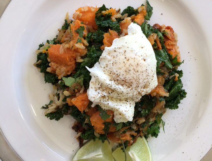 ... Kale and Roasted Sweet Potato Sauté with Poached Eggs Recipe | Yummly