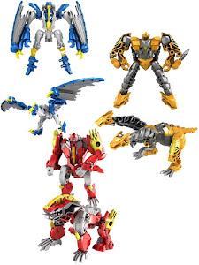 Набор роботов-трансформеров драконов, синий, желтый и красный