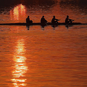 boating by Sandeep Das - Sports & Fitness Watersports ( boating, lake, sunrise, morning, people,  )